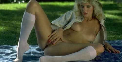 ginger lynn playing solo outdoors
