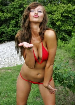 london_hart_tiny_red_bikini